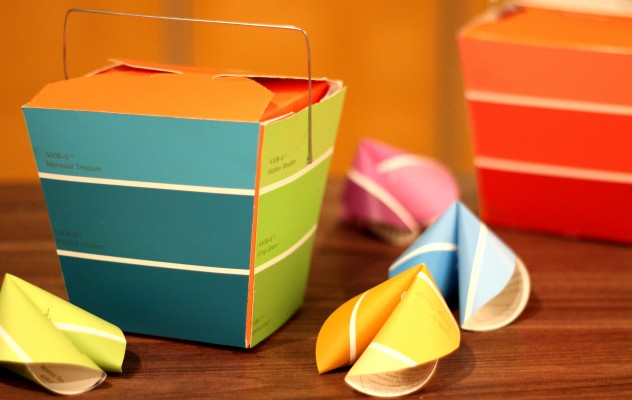 paint chip takeout box and fortune cookies